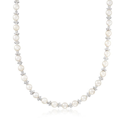 C. 2000 Vintage 6mm Cultured Pearl and 4.80 ct. t.w. Diamond Cluster Necklace in 14kt White Gold, , default