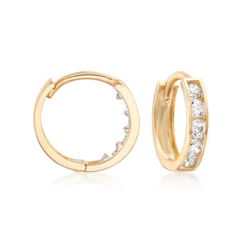 "Child's .15 ct. t.w. CZ Hoop Earrings in 14kt Yellow Gold. 3/8"", , default"