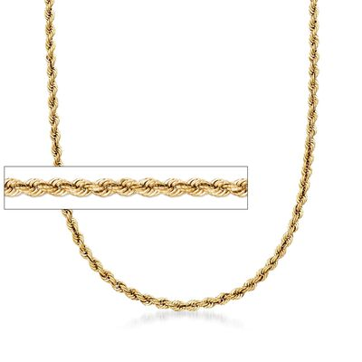 4mm 18kt Gold Over Sterling Silver Rope Chain Necklace, , default