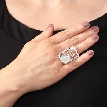 8-20mm Cultured Pearl Abstract Openwork Ring in Sterling Silver, , default