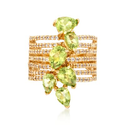 3.60 ct. t.w. Peridot and .90 ct. t.w. White Topaz Multi-Row Ring in 18kt Gold Over Sterling, , default