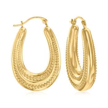 "14kt Yellow Gold Beaded Oval Hoop Earrings. 1"", , default"