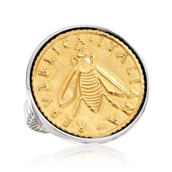 Italian Replica Lira Bee Coin Ring in Sterling Silver and 18kt Gold Over Sterling, , default