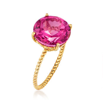 8.57 Carat Pink Topaz Twist Rope Ring in 14kt Yellow Gold