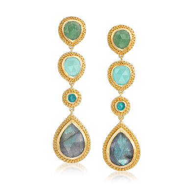 Multi-Gem and 2.00 ct. t.w. Green Quartz Drop Earrings in 18kt Gold Over Sterling Silver, , default