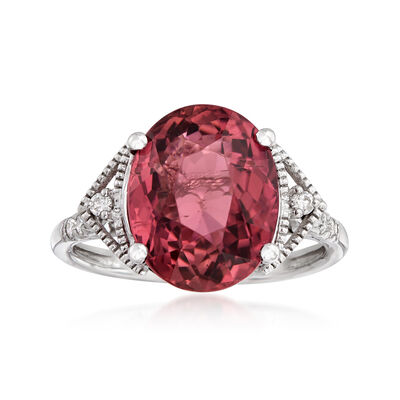 6.00 Carat Pink Tourmaline and .14 ct. t.w. Diamond Ring in 14kt White Gold