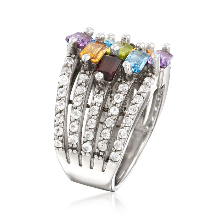 3.70 ct. t.w. Multi-Gemstone Multi-Row Station Ring in Sterling Silver
