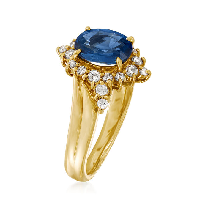 C. 1990 Vintage 1.53 Carat Sapphire and .26 ct. t.w. Diamond Ring in 18kt Yellow Gold