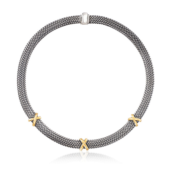 """Italian Sterling Silver and 18kt Bonded Gold Woven Mesh X Necklace. 17"""", , default"""