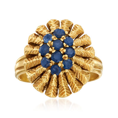C. 1960 Vintage .90 ct. t.w. Sapphire Cluster Ring in 18kt Yellow Gold, , default