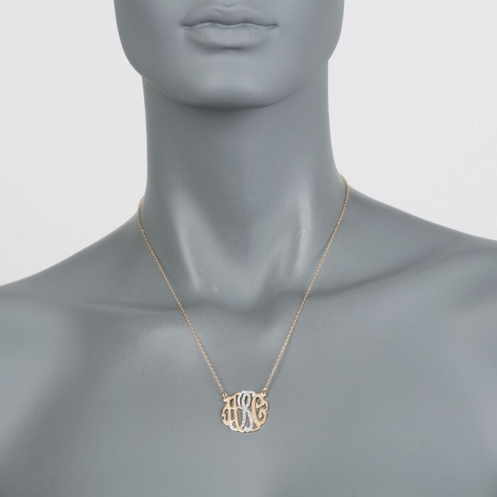 ".15 ct. t.w. CZ Monogram Pendant Necklace in Two-Tone Sterling Silver. 18"", , default"