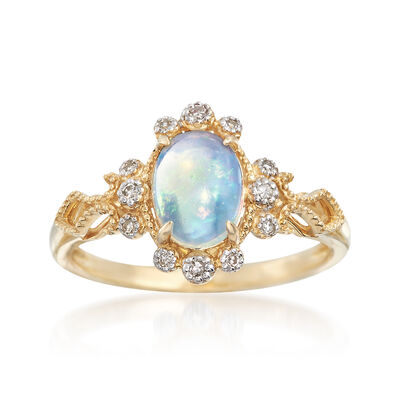 Opal and Diamond Accented Ring in 14kt Yellow Gold, , default