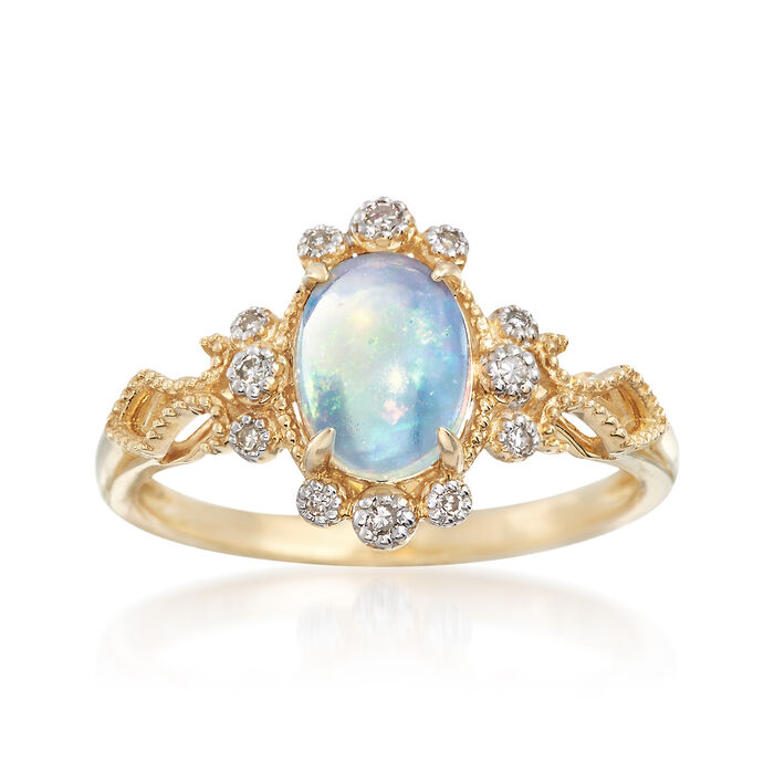 Opal and Diamond Accented Ring in 14kt Yellow Gold