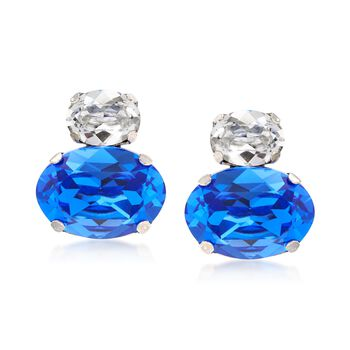 Italian Sterling Silver Drop Earrings With Blue and Clear Swarovski Crystals, , default