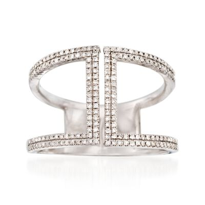 .25 ct. t.w. Diamond Double Bar Ring in Sterling Silver, , default