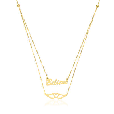 "14kt Yellow Gold ""Believe"" and Heart Layered Necklace"