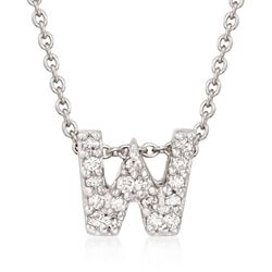 "Roberto Coin ""Tiny Treasures"" Diamond Accent Initial ""W"" Necklace in 18kt White Gold. 16"", , default"