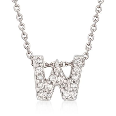 "Roberto Coin ""Tiny Treasures"" Diamond Accent Initial ""W"" Necklace in 18kt White Gold, , default"