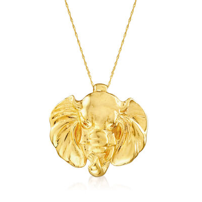 Italian 14kt Yellow Gold Elephant Slide Pendant Necklace, , default
