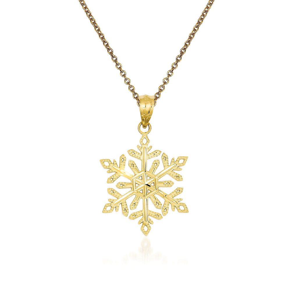 14kt yellow gold snowflake pendant necklace 18 ross simons 14kt yellow gold snowflake pendant necklace 18quot default aloadofball Image collections