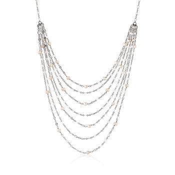 Cultured Pearl Multi-Strand Waterfall Necklace in Sterling Silver, , default