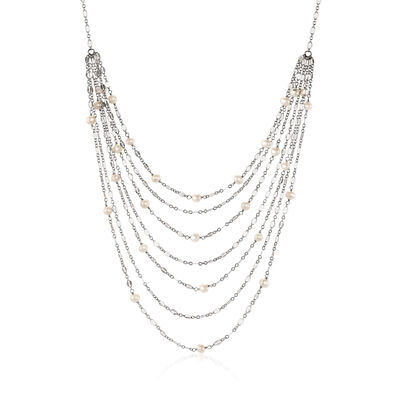 Cultured Pearl Multi-Strand Waterfall Necklace in Sterling Silver