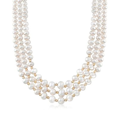 4-9mm Cultured Freshwater Pearl Three-Strand Necklace with 14kt Yellow Gold Clasp, , default