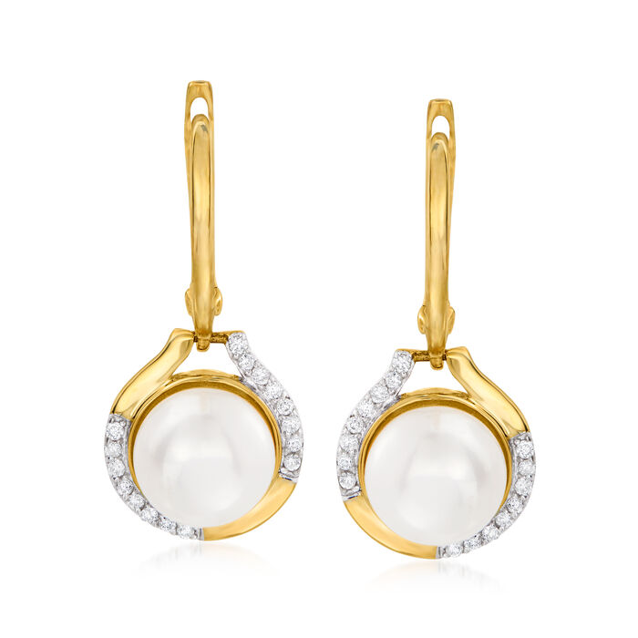 8-8.5mm Cultured Pearl and .17 ct. t.w. Diamond Drop Earrings in 14kt Yellow Gold, , default
