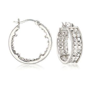 """Sterling Silver Diamond-Cut Beaded Hoop Earrings. 7/8"""", , default"""