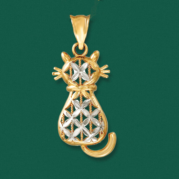 14kt Two-Tone Gold Cat Pendant