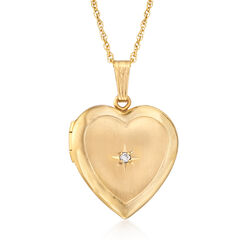 "14kt Yellow Gold Heart Locket Necklace With Diamond Accent. 18"", , default"