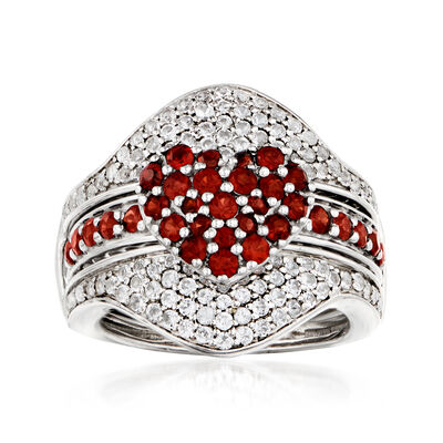 1.50 ct. t.w. White Topaz and 1.00 ct. t.w. Garnet Jewelry Set: Ring with Guard in Sterling Silver