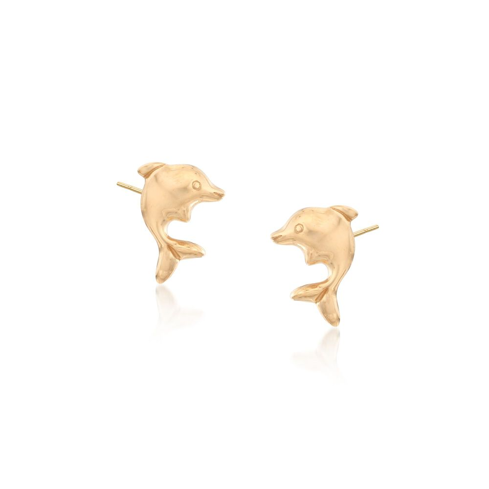 18kt Yellow Gold Dolphin Stud Earrings Default