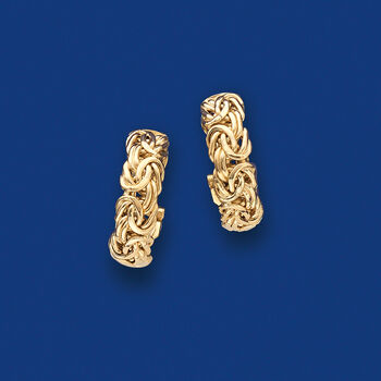 14kt Yellow Gold Byzantine Hoop Earrings. 3/4""