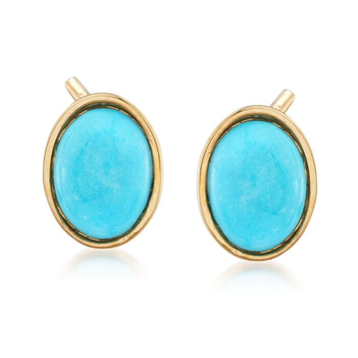 Italian Turquoise Stud Earrings in 14kt Yellow Gold