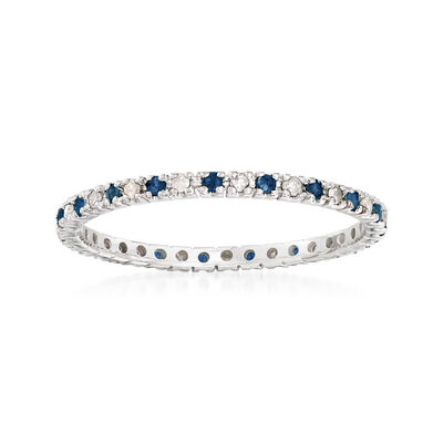 .20 ct. t.w. Sapphire and .15 ct. t.w. Diamond Eternity Band in 14kt White Gold