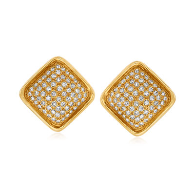 C. 1980 Vintage 2.75 ct. t.w. Diamond Square Clip Earrings in 18kt Yellow Gold