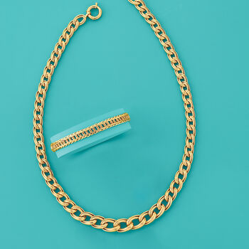 "18kt Yellow Gold Interlocking Oval Link Bracelet. 8"", , default"