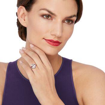 4.80 Carat Pink Amethyst Ring With Rhodolite Garnets and White Topaz in 18kt Rose Gold Over Sterling, , default