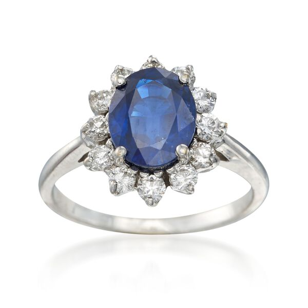 C. 1990 Vintage 2.35 Carat Sapphire and .50 ct. t.w. Diamond Ring in 18kt White Gold #887296