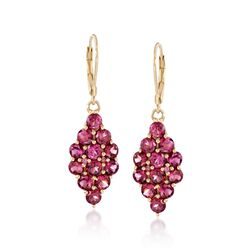 7.25 ct. t.w. Rhodolite Garnet Drop Earrings in 14kt Gold Over Sterling, , default