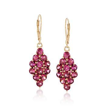 7.25 ct. t.w. Rhodolite Garnet Drop Earrings in 14kt Gold Over Sterling, , default