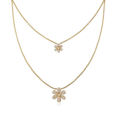.25 ct. t.w. Diamond Double Flower Layered Necklace in 18kt Yellow Gold