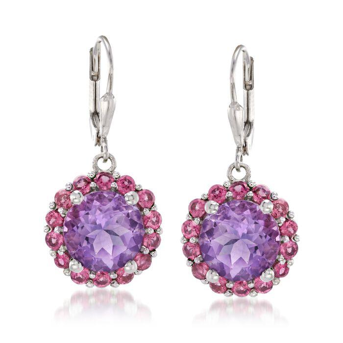 6.25 ct. t.w. Amethyst and 2.10 ct. t.w. Rhodolite Garnet Drop Earrings in Sterling Silver, , default