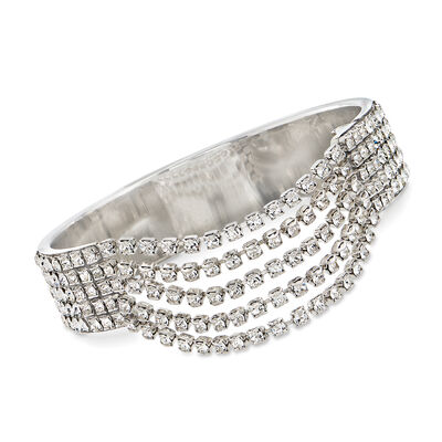 Swarovski Crystal Multi-Row Bangle Bracelet in Silvertone, , default