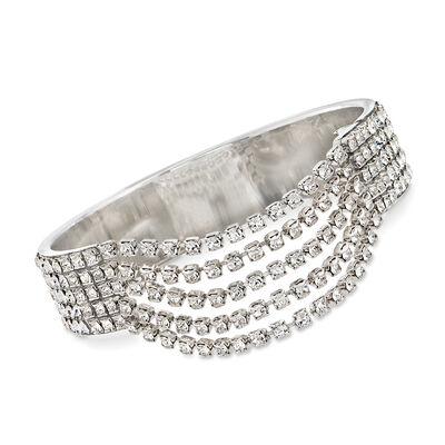 Swarovski Crystal Multi-Row Bangle Bracelet in Silvertone, , default
