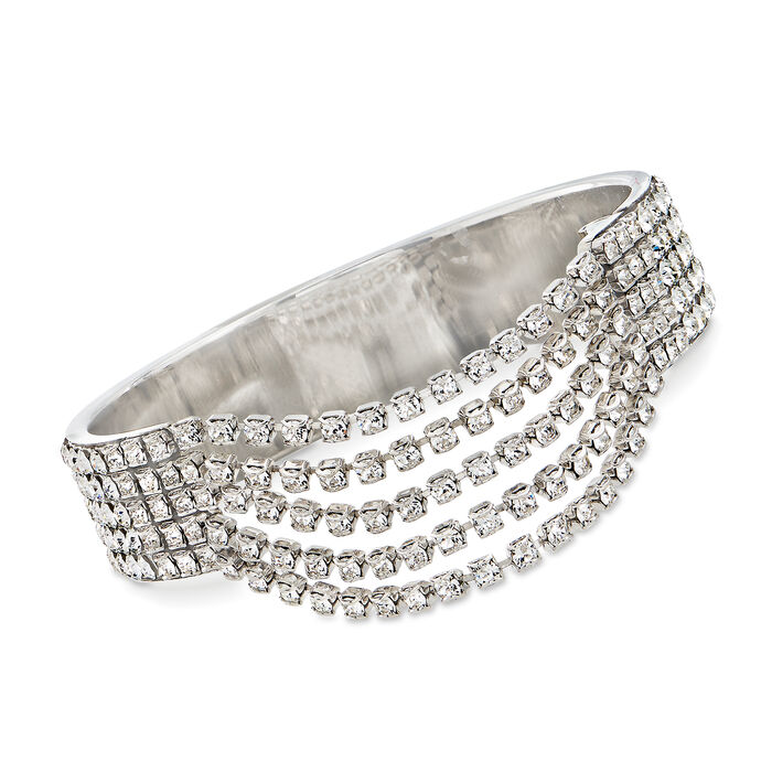 "Swarovski Crystal Multi-Row Bangle Bracelet in Silvertone. 7"", , default"