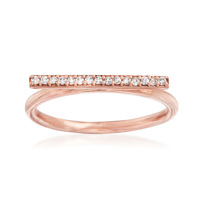 C. 1990 Vintage .12 ct. t.w. Diamond Horizontal Bar Ring in 14kt Rose Gold. Size 7.25, , default