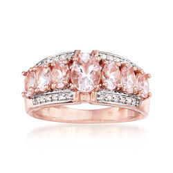 2.60 ct. t.w. Morganite and .14 ct. t.w. Diamond Ring in 14kt Rose Gold Over Sterling, , default