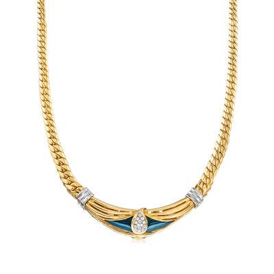 C. 1980 Vintage .35 ct. t.w. Pave Diamond Teardrop-Shape Necklace in 18kt Tri-Colored Gold, , default